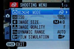 Fujifilm FinePix F70 EXR screen