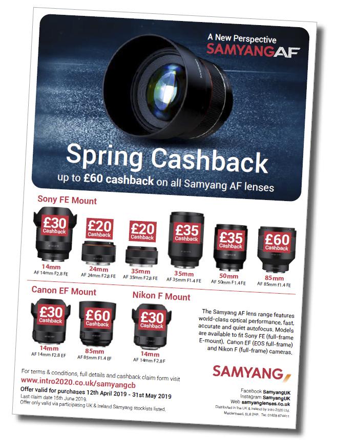Up to £60 in cashback can be claimed on lenses from the Samyang AF lens range