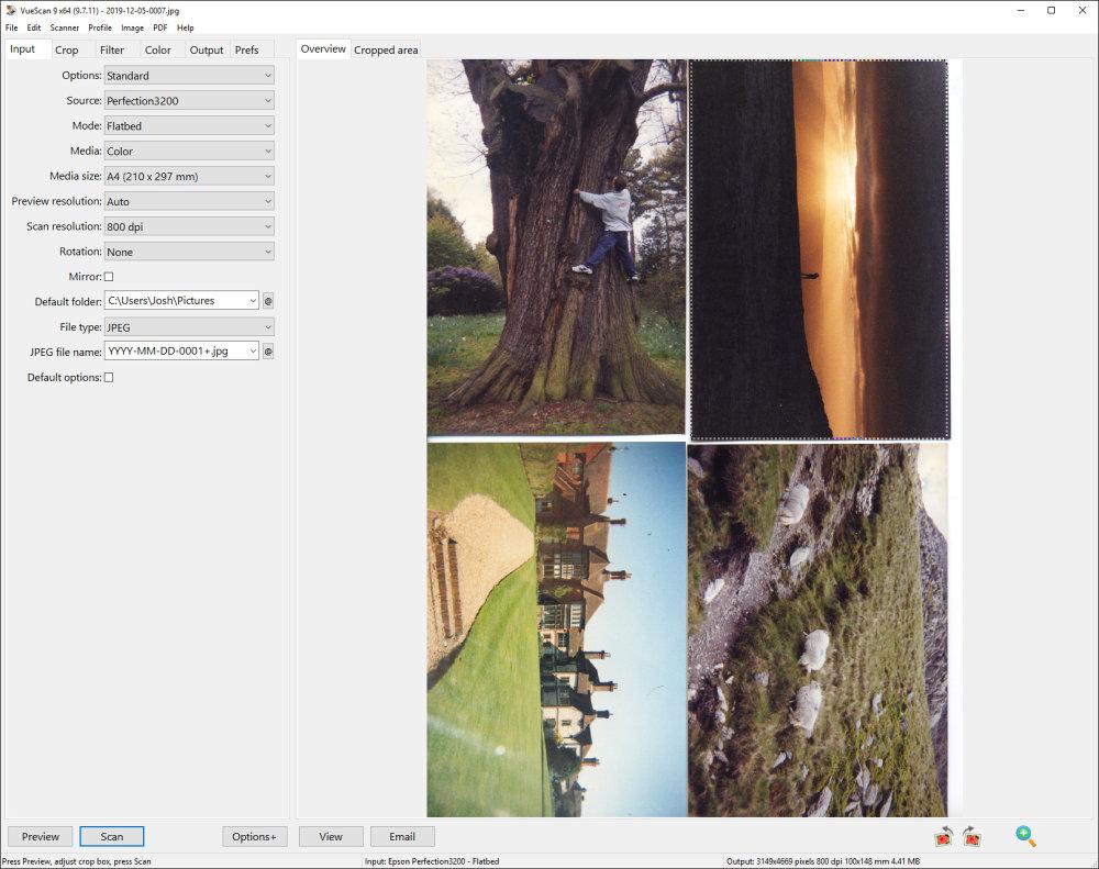 Hamricks Vuescan Flatbed Scanning Multiple Images