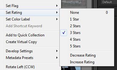 Star rating menu