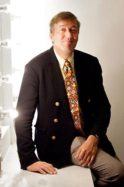 Stephen Fry in his dressing room
