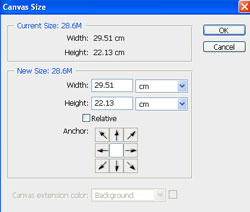 Adjusting the canvas size in Photoshop CS4