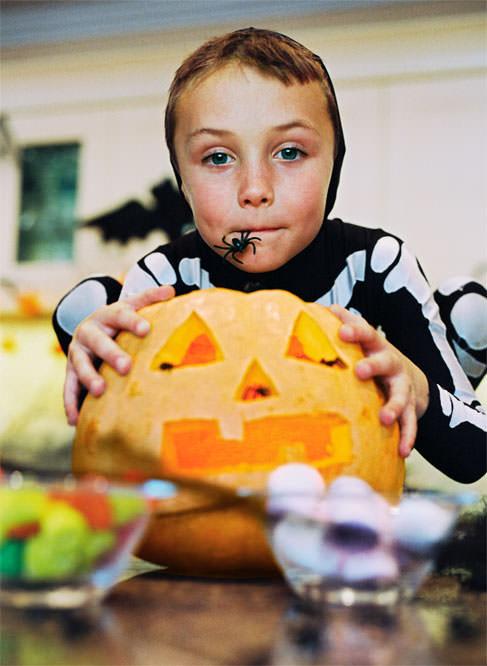 Boy with a pumpkin