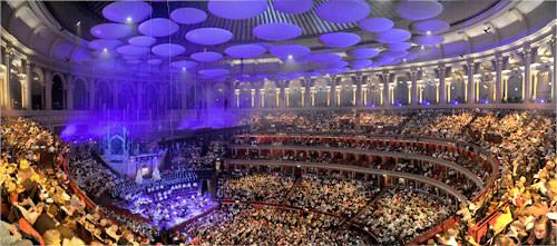 Panorama inside             the Royal Albert Hall