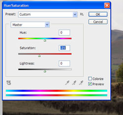 Adjust saturation in Photoshop