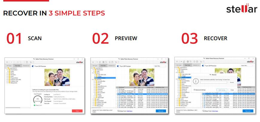 Stellar photo recovery steps