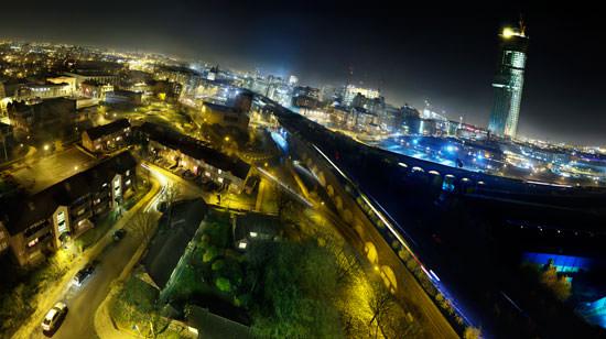 Urban scene in evening