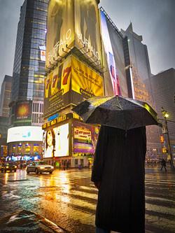 City shot in the rain