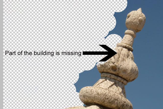 Erase background - building removed