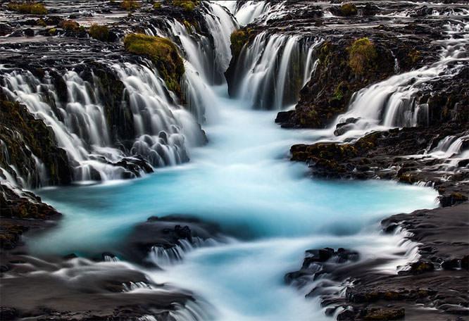 Bruarfoss glacial blue water, Iceland
