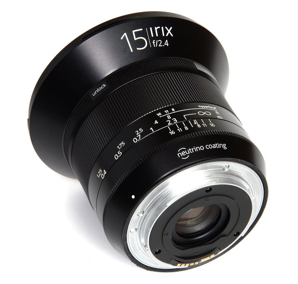 Irix 15mm F2,4 Blackstone Rear Oblique View