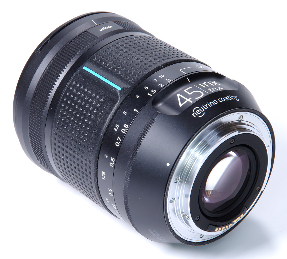 Irix 45mm F1,4 Rear Oblique View