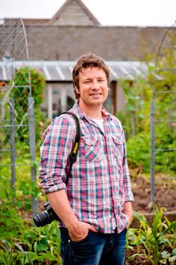 Jamie Oliver in the garden