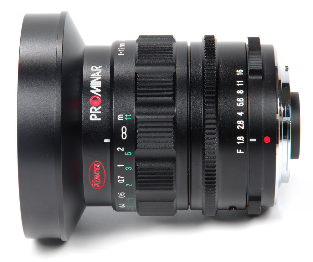 Kowa Prominar 12mm F1,8 Top View With F Stops