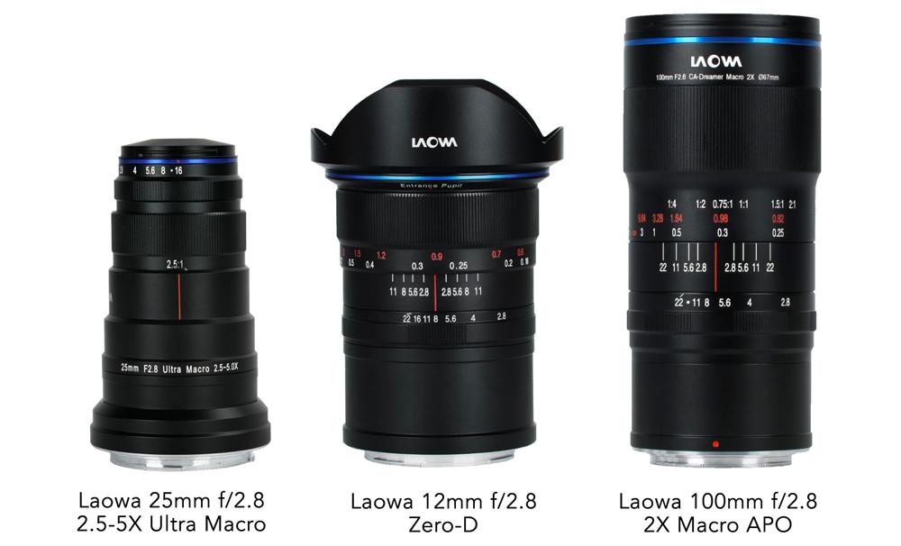 12mm f/2.8 Zero-D, 25mm f/2.8 2.5-5X Ultra Macro and 100mm f/2.8 2X Ultra-Macro