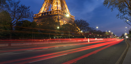 Car Trails at the Eiffel Tower