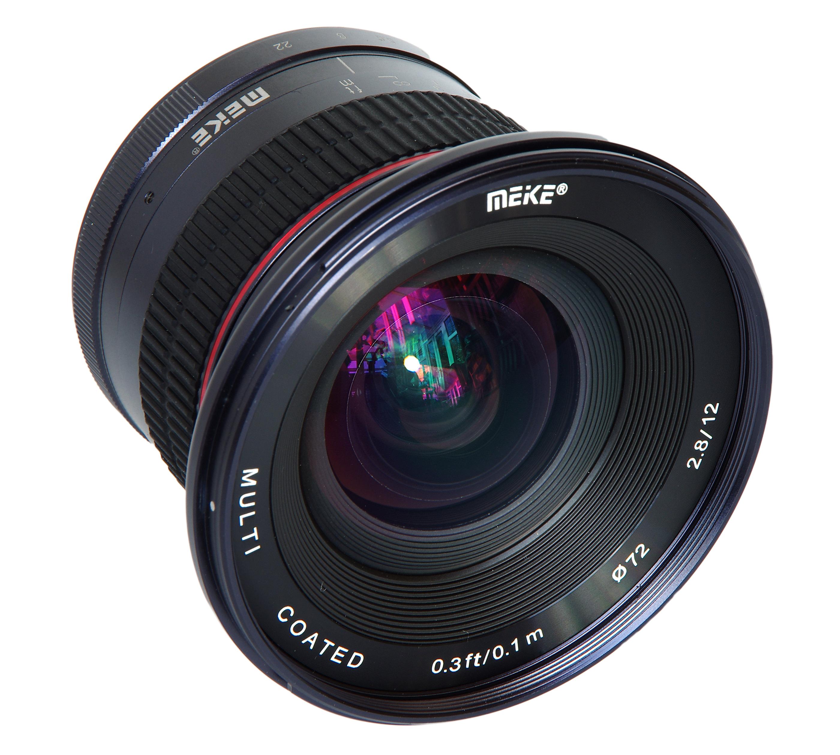Meike 12mm F2 8 Oblique Front View