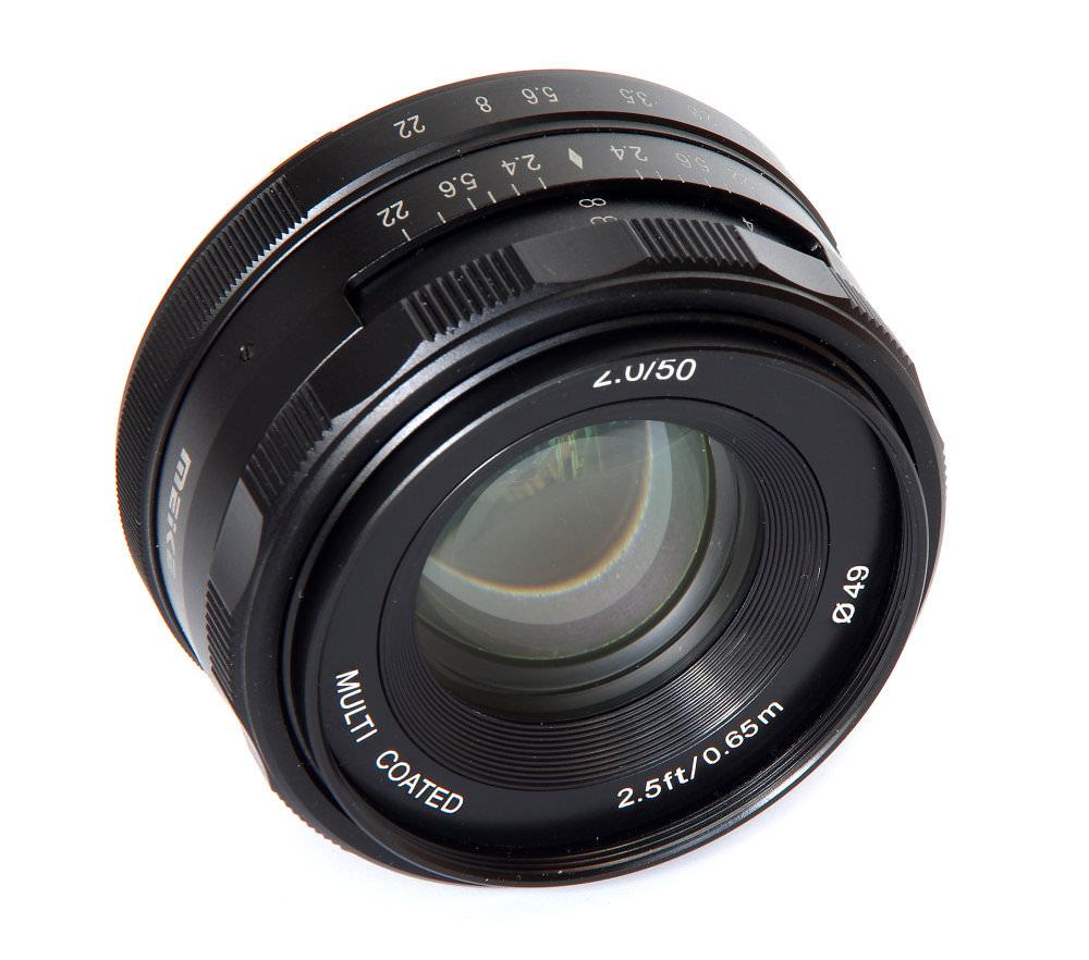 Meike 50mm F2 Front Oblique View