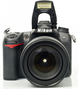 Nikon D7000 front with flash up