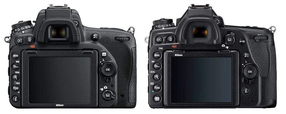 Задняя часть Nikon D750 против задней части D780