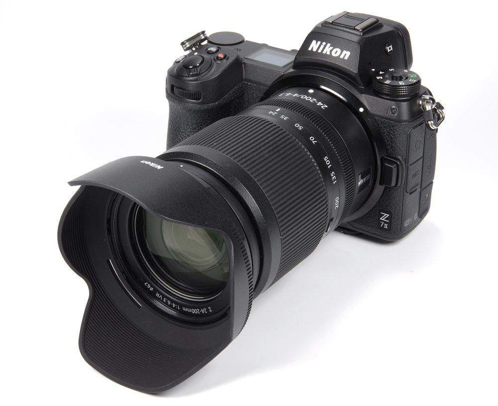 Nikkor Z 24 200mm F4 6,3 VR With Hood On Nikon Z7 II