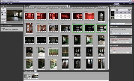 Browse window of Oloneo PhotoEngine
