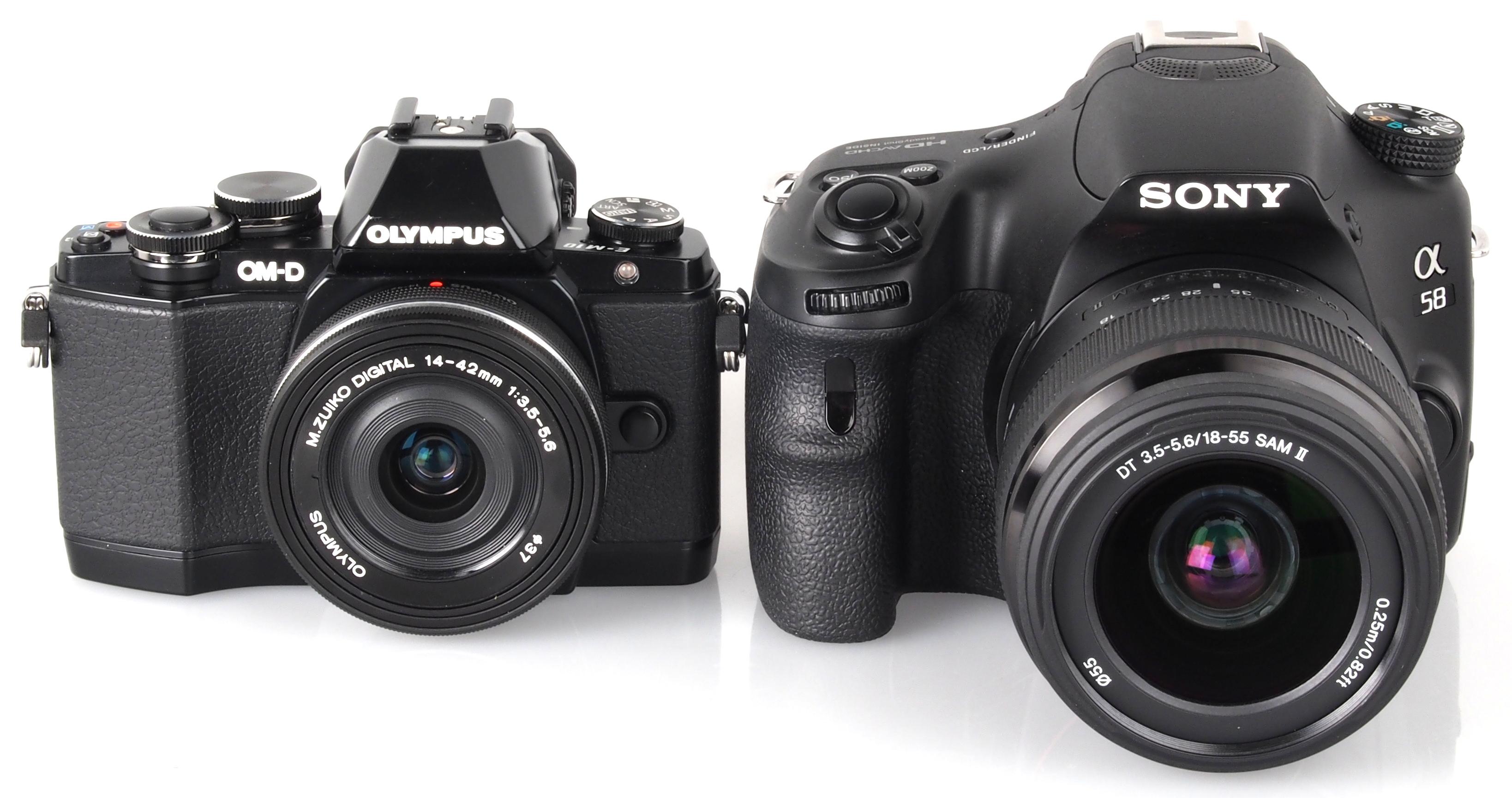 Camera Slt Camera Vs Dslr olympus om d e m10 mirrorless vs sony alpha a58 dslr 14
