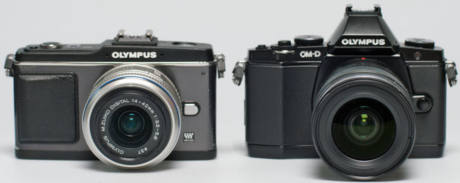 Olympus OM-D size comparison with E-P2 - front view
