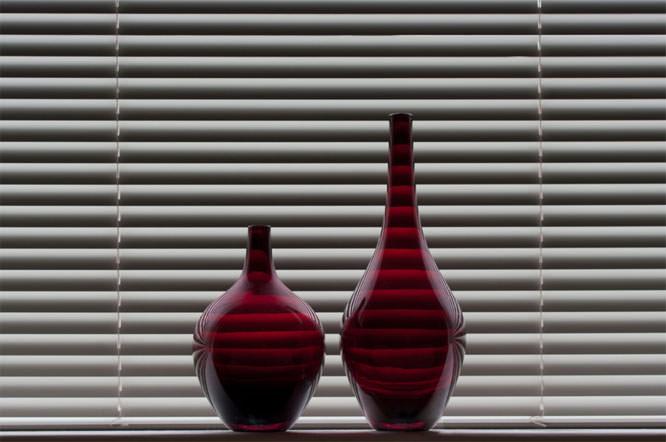 vases on windowsill