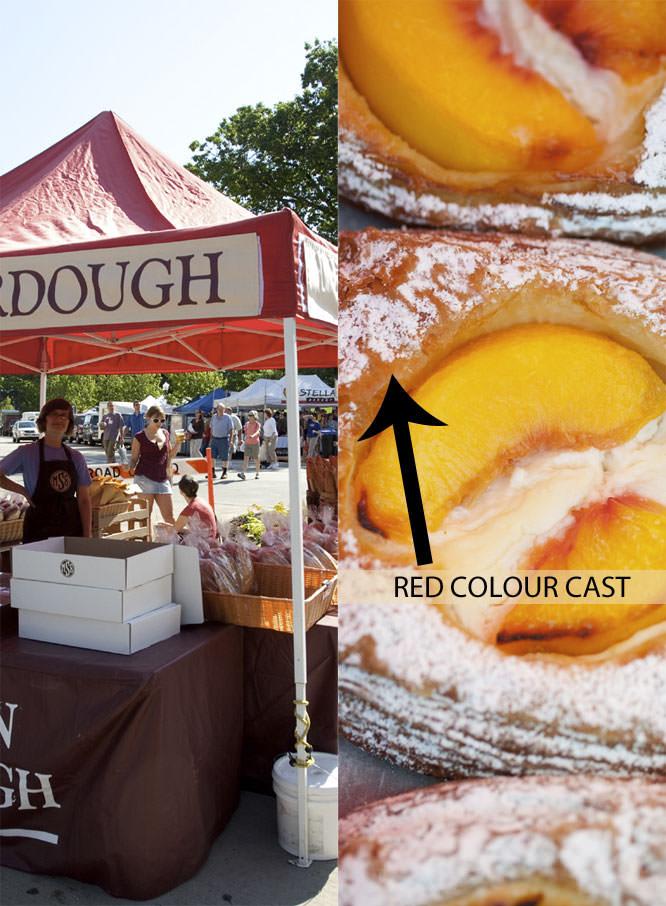 Colour cast on pastries