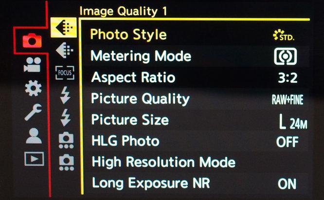 Panasonic Lumix S5 Photgo Menu Options
