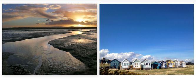 Sunset and beach huts