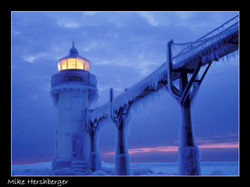 St Joseph lighthouse winter by Mike Hershberger