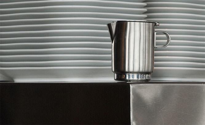 A jug and plates