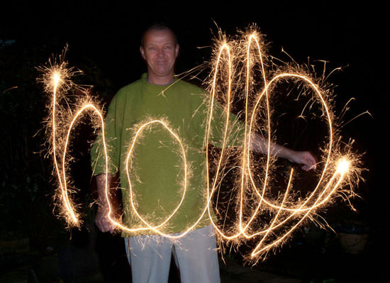 Sparklers used to write hello