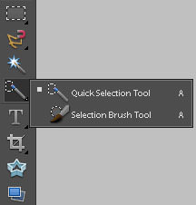 Quick selection tool in Photoshop Elements
