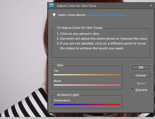 Adjust colour dialogue box