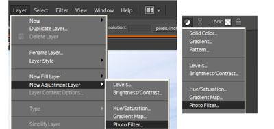 Photo Filter menu