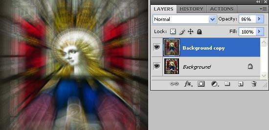 zoom blur - reduce opacity