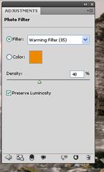 Adjust the photo filter