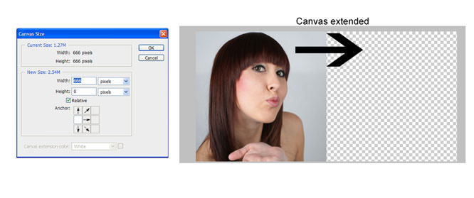 Photoshop merge using layer masks - extend the canvas