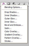 FX menu Photoshop
