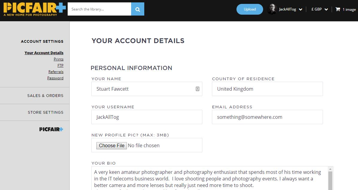 PicFair Manage Your Account