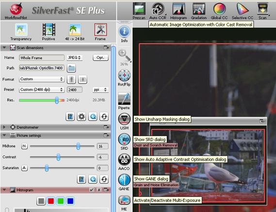 Silverfast SE Plus Interface v8