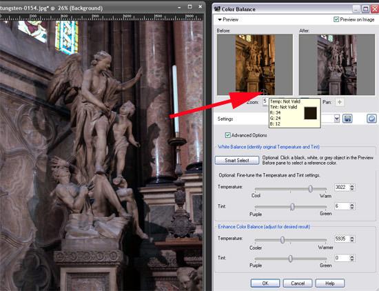 colour correction, sample a neutral point on the photo