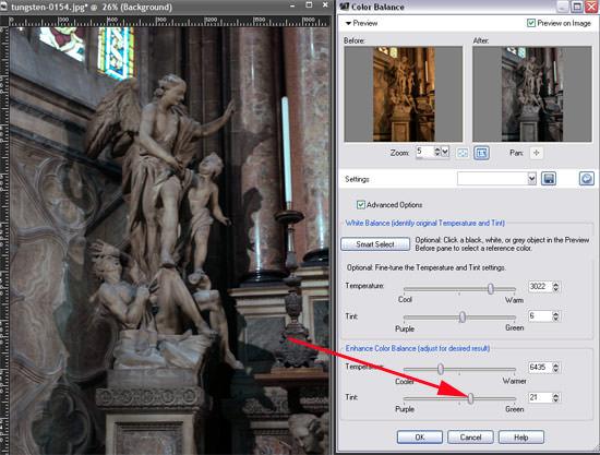 fine tune the temperature of the photo to correct colours