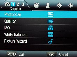 Samsung NX200 Menus