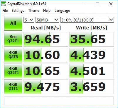 Samsung Pro Endurance Crystal Disk Mark