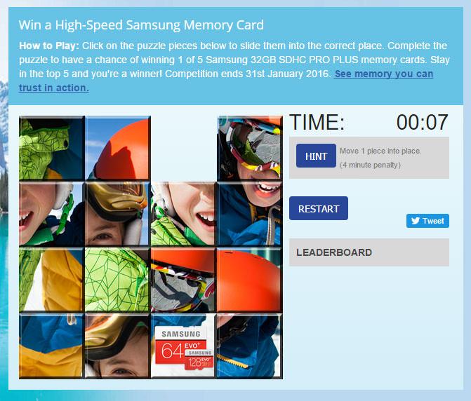 Samsung memory card screengrab