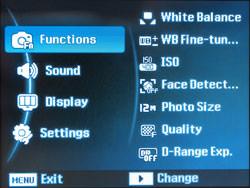 Samsung WB5000 main menu